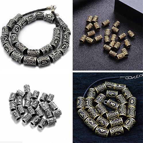 24 Norse Viking Rune Beads Jewelry Hair Beard Bracelet Necklace