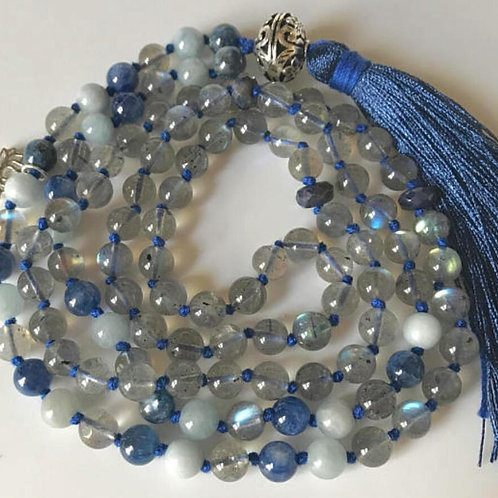 Labradorite Kyanite Aquamarine Sapphire 108 Beads Mala
