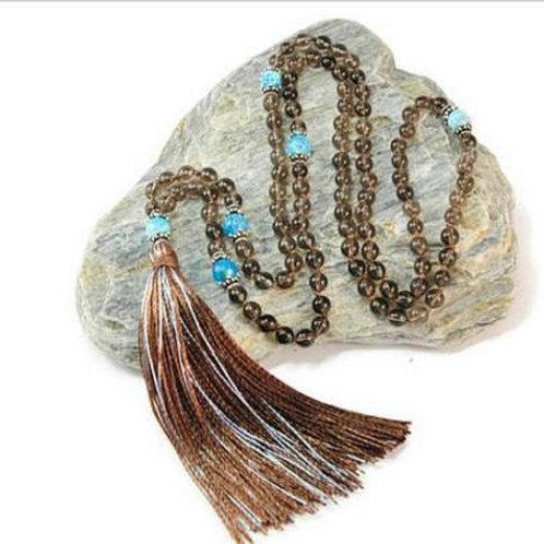 Smoky Quartz Blue Crackled Fire Agate 108 Beads Mala