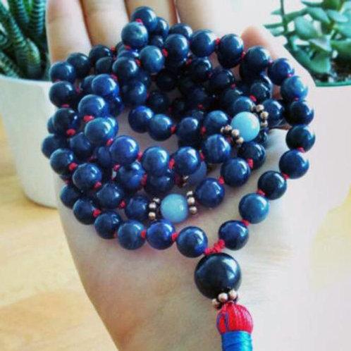 Dumortierite Blue Angelite Copper 108 Beads Mala