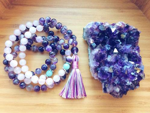 Chevron Amethyst Rose Quartz Amazonite Fluorite 108 Beads Mala