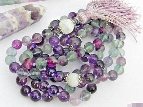 Rainbow Fluorite Amethyst Rainbow Moonstone 108 Beads Mala