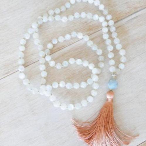 Moonstone Aquamarine Tassels 108 Beads Mala