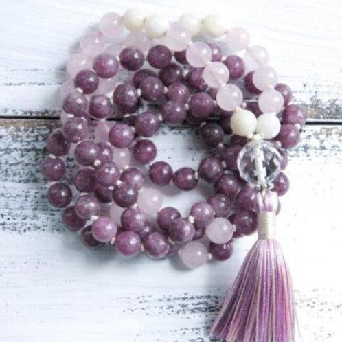 Lepidolite Rose Quartz Moonstone Faceted Lotus Blossoms 108 Beads Mala
