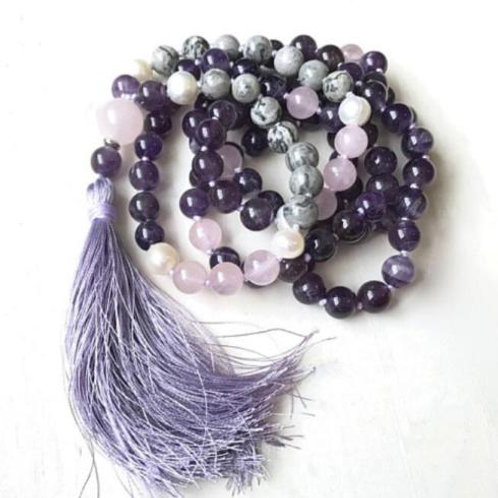 Amethyst Jasper Rose Quartz Freshwater Pearl 108 Beads Mala