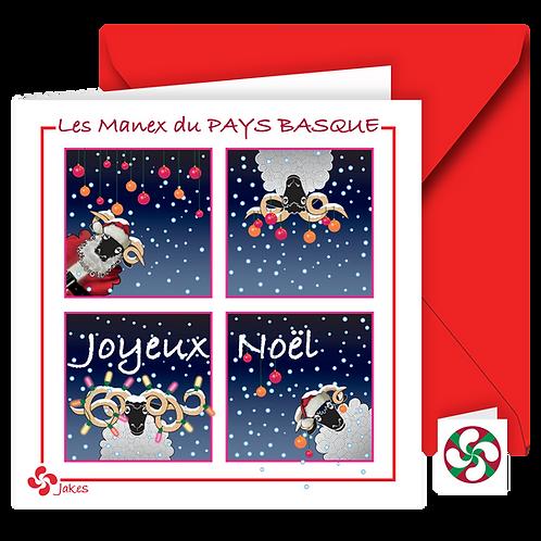 """""""Joyeux Noël/4 cases"""" Carte carrée"""