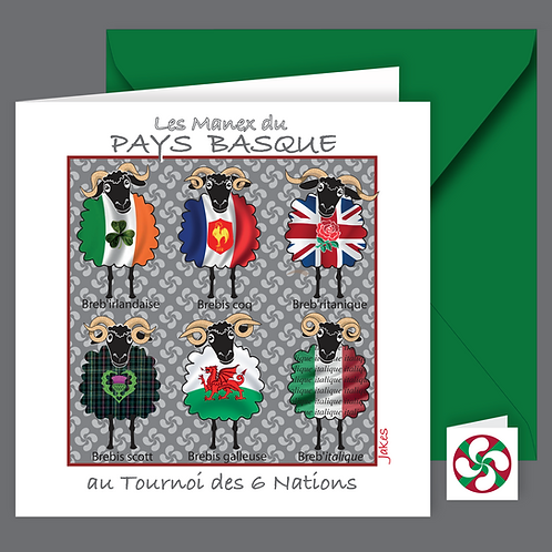 """Tournoi des 6 nations"" Carte carrée"