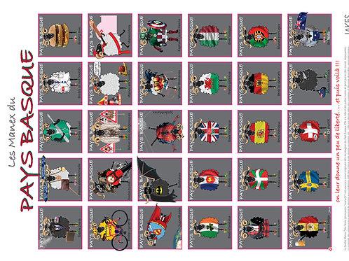 """""""Les Manex du Pays Basque 2"""" Affiche 300 x 400 mm"""