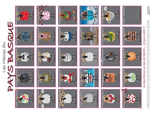 """""""Les Manex du Pays Basque 1"""" Affiche 300 x 400 mm"""