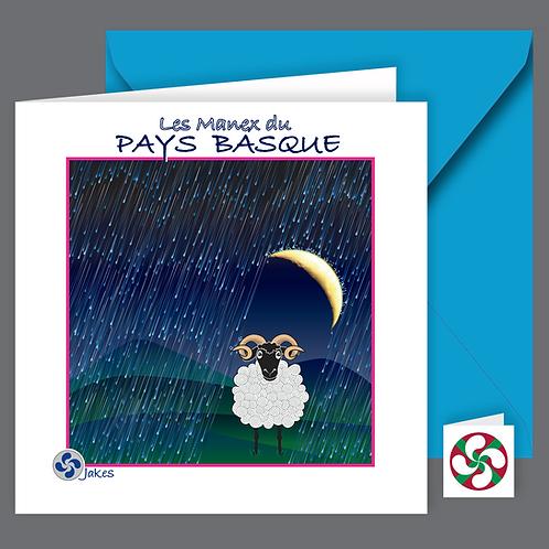 """""""Brebis sous la lune"""" Carte carrée"""