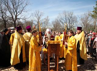 Митрополит Лонгин совершил чин основания храма святого благоверного князя Александра Невского на Сок