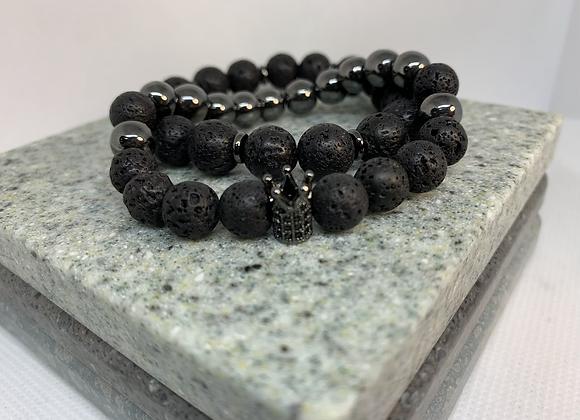 Hematite + Lava Crown Set