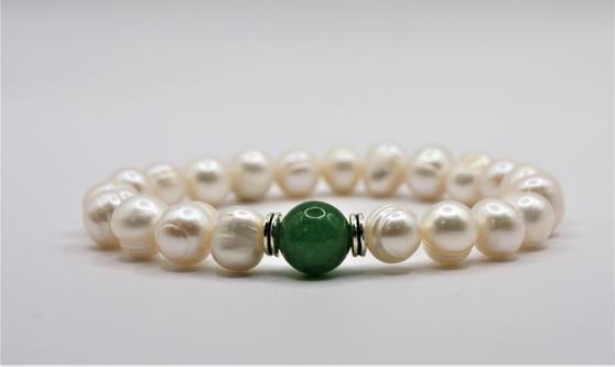 Fresh Water Pearls + Green Jade Bracelet