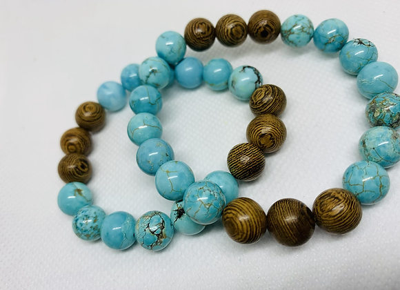 Turquoise + Wooden Beads