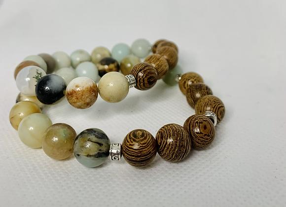 Amazonite + Wooden Beads