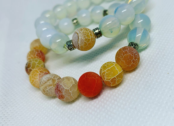 Matted Orange Fire Crackle Agate + Opalite Set