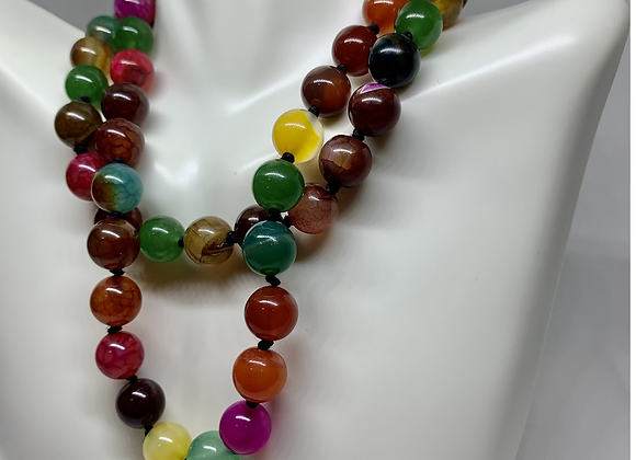 Multi-Color Agate Hand Knotted Necklace