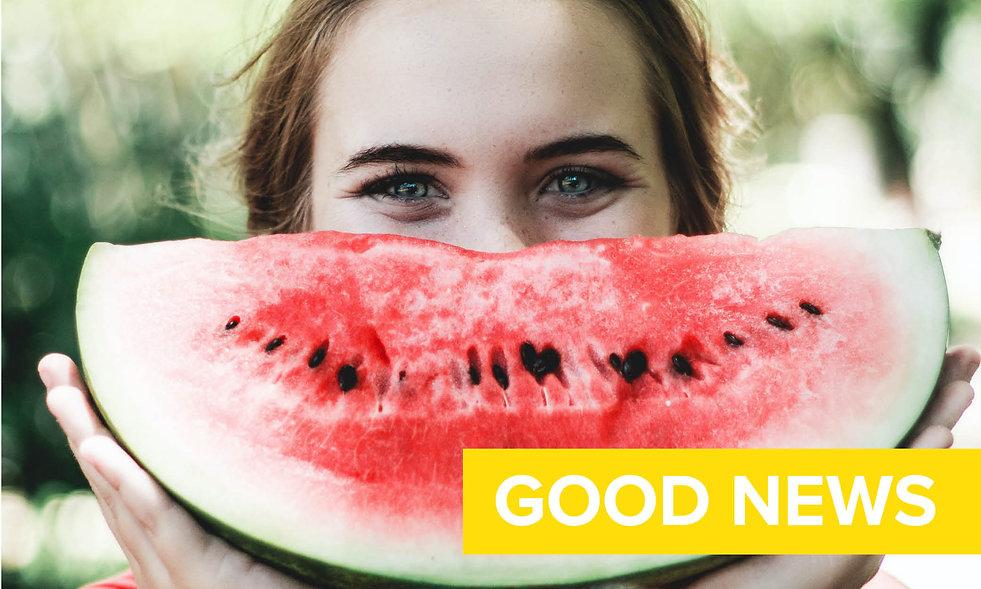 Happy lady with watermelon slice