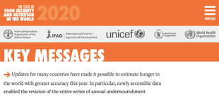 Food Security and Nutrition in the World, 2020