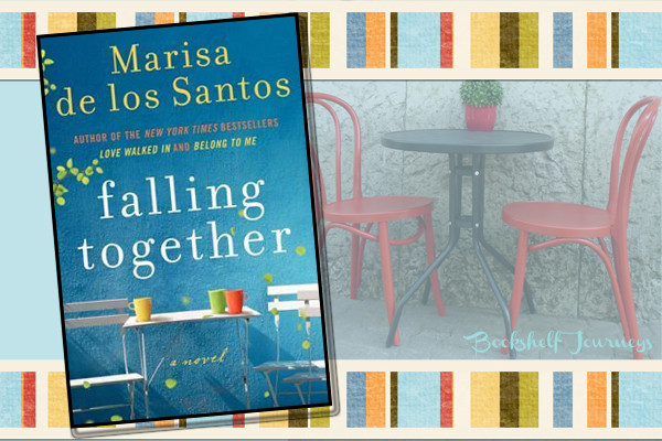 Falling Together book cover over outside cafe photo