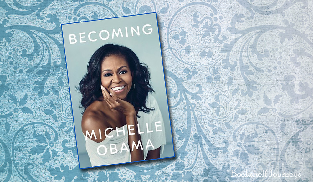 Becoming by Michelle Obama boo cover on background image