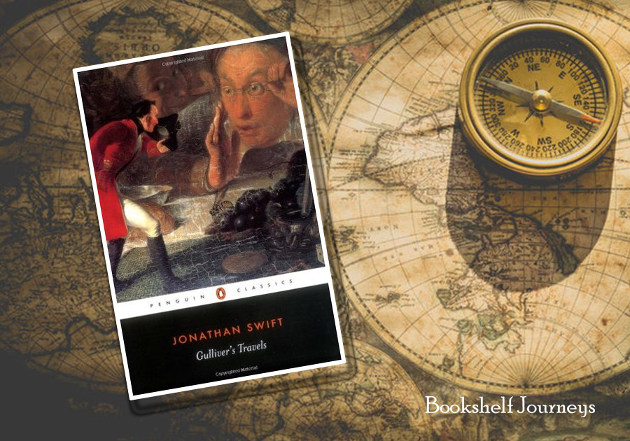 Gulliver's Travels book cover on antique map image