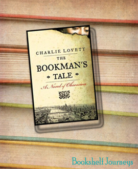 The Bookman's Tale book cover over a stack of books photo