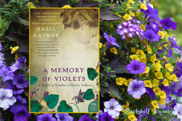 A Memory of Violets book cover on purple flowers image