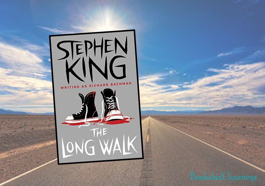 The Long Walk by Stephen King book cover over highway image