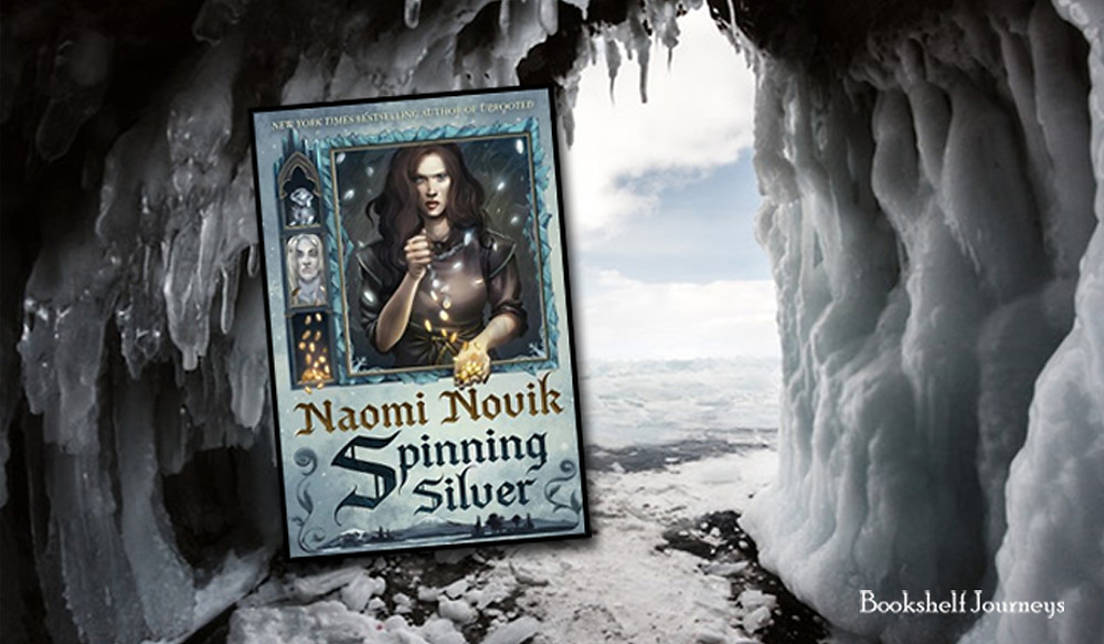 Spinning Silver book cover on image of ice cave