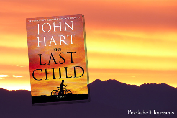 The Last Child book cover art over photo of mountains & sunset by Terrie Purkey
