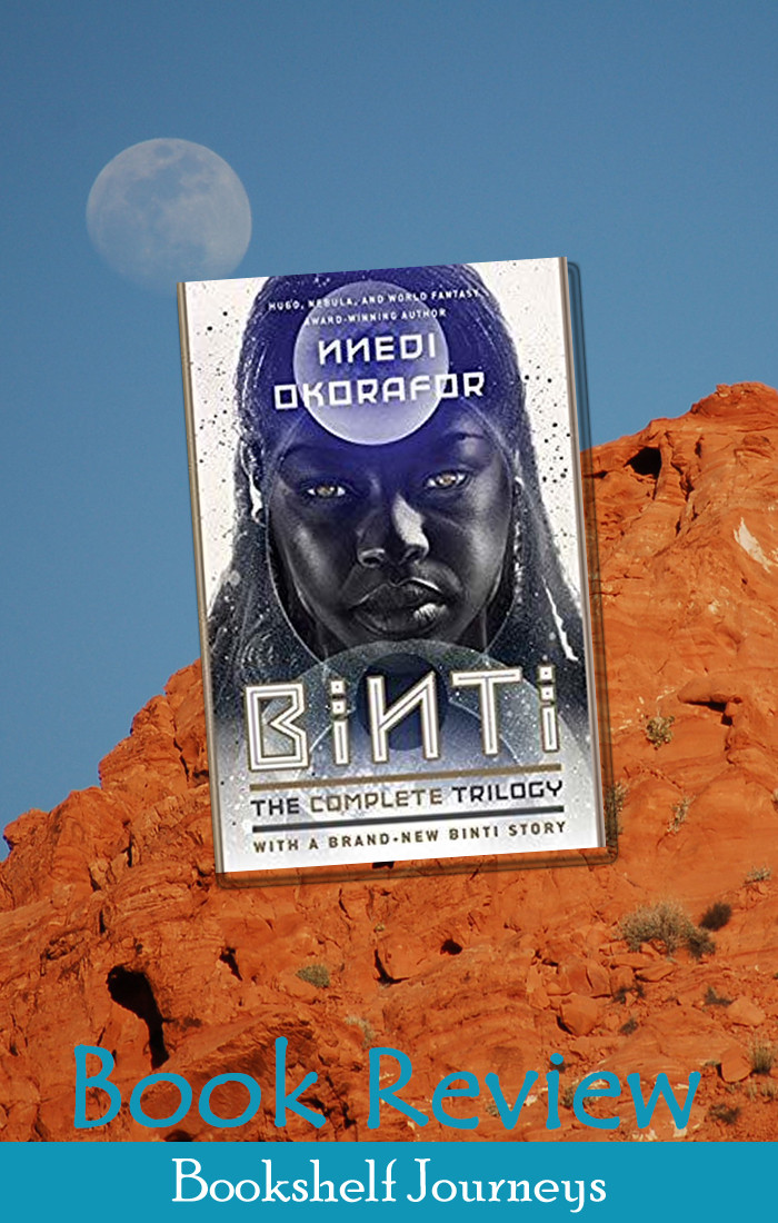 Binti book cover over red rock photo by Terrie Purkey