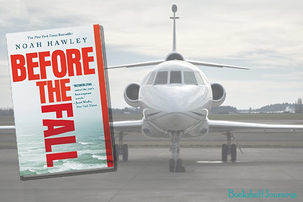 Before the Fall book cover over private plane image