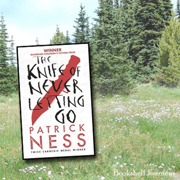 The Knife of Never Letting Go book cover over meadow photo by Terrie Purkey