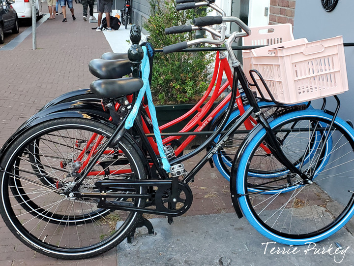 parked bikes in Amsterdam photo by Terrie Purkey