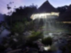 Peru Sacred Tours - Maloca at night