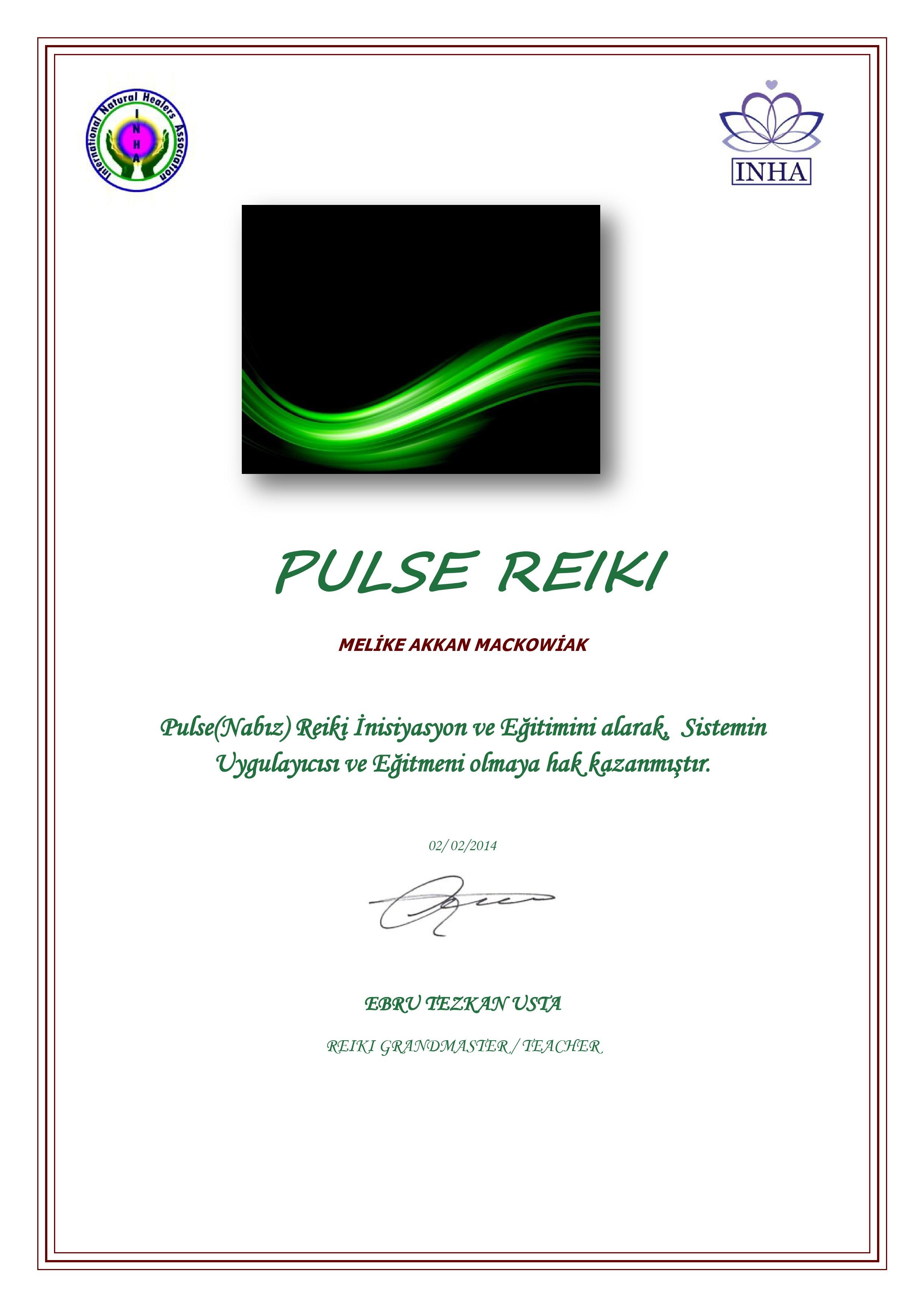 PULSE (NABIZ) REİKİ SERTİFİKA -1