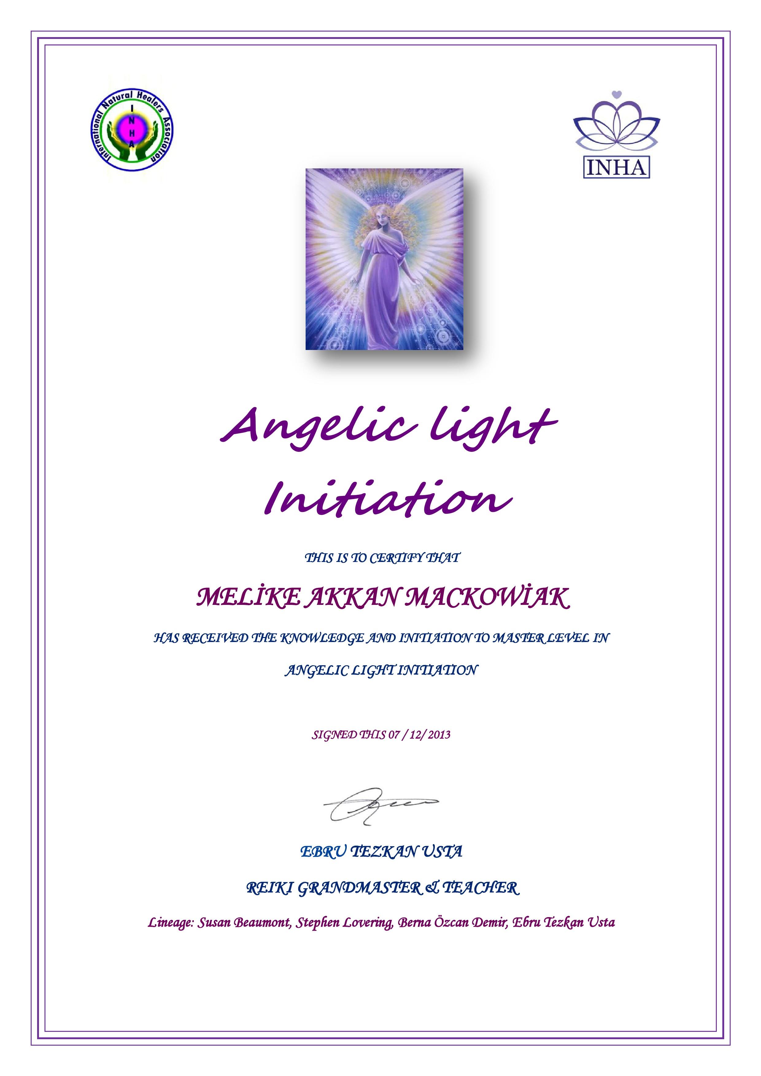 ANGEL LİGHT SERTİFİKA -1