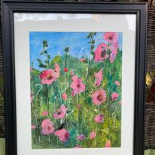 "Original art ""Pink Hollyhocks"" by Lucy Beale"