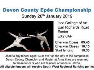 Devon County Epée Championship Sunday 20th January 2019