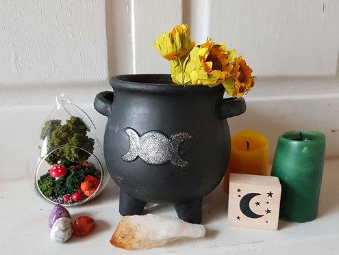 Triple Moon Cauldron Plant Pot