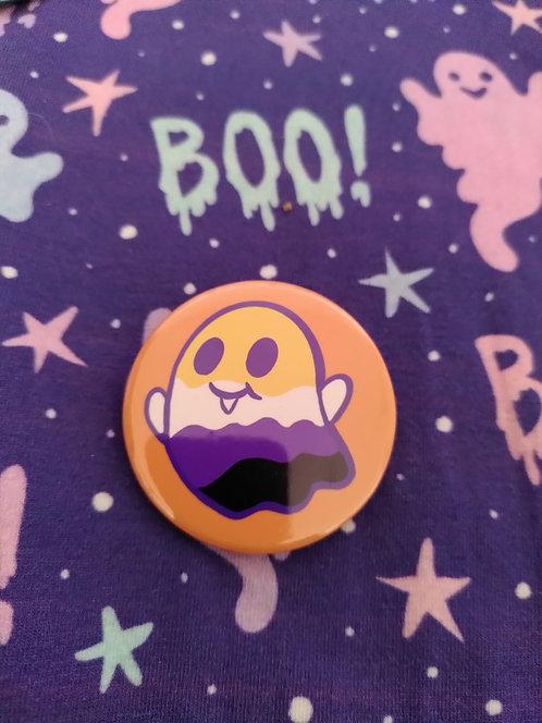 Non Binary Ghost Pin Badge