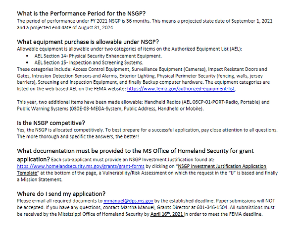 Fiscal Year 2021 Nonprofit Security Gran