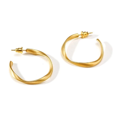 Frosted Gold Hoops