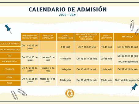 Calendario de matriculación