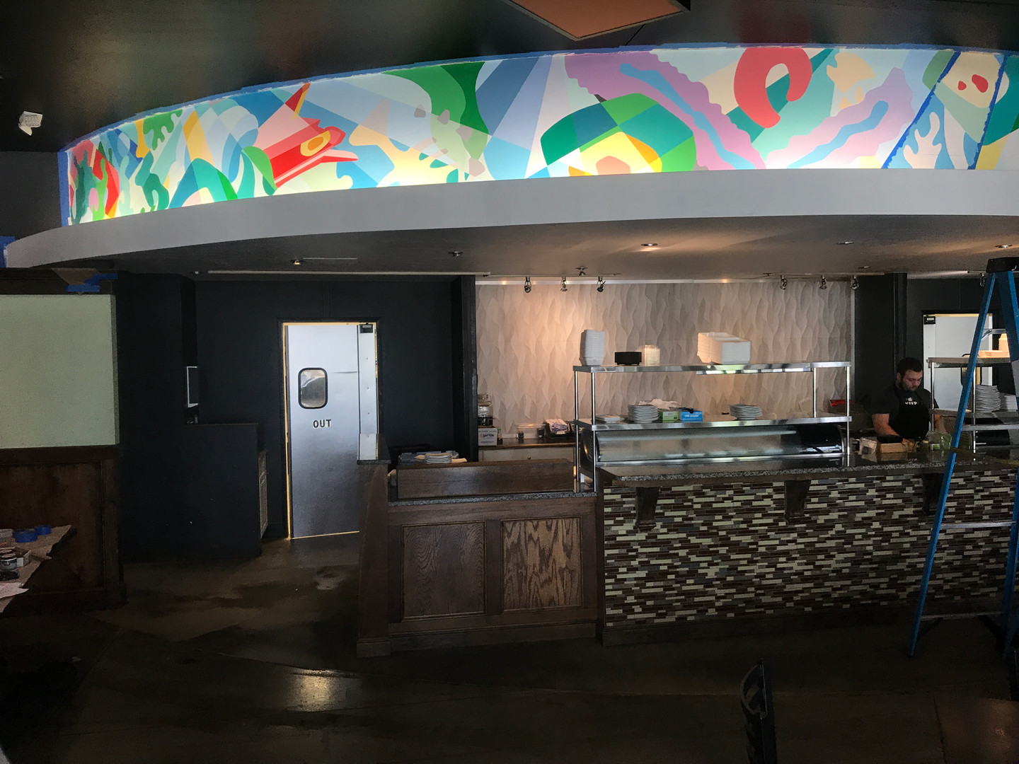 Mural 2, above the Sushi Bar, wip