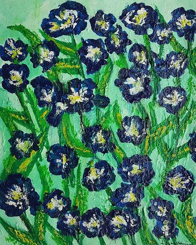 Home   Kit Driscoll Art   Field of Irises, Acrylic on Paper, 8\