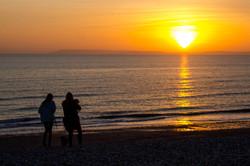 sunset dog walkers