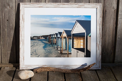 Driftwood Framed West Wittering Beach Huts