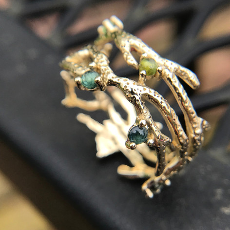 14K Gold Coral Ring w/aqua-toned tourmaline cabochons $860. Please contact designer for pricing in other metals